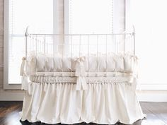 Farmhouse Ruffled 100% Washed Cotton Crib Bedding in Ivory by highcottontextile on Etsy https://www.etsy.com/listing/231918739/farmhouse-ruffled-100-washed-cotton-crib