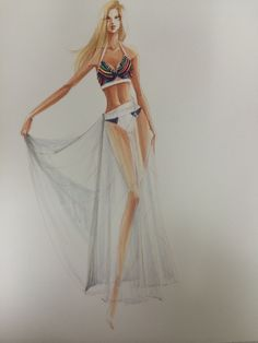 Sheer drape with stripes rendering1 by Leah Won