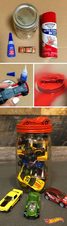 Keep your kids' cars tidy yet visible with these DIY Hot Wheels jars. 1. Glue Hot Wheels Car to Jar Lid 2. Wait 1-2 hours or until dry. 3. Paint car (optional).