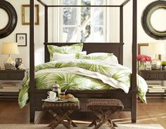 Palm trees don't have to be only for vacation. Bring tropical decor right to your bedroom to enjoy the look and feel of a getaway all year round. And palm tree bedroom bedding is one sure-fire way to accomplish it. Tropical Canopy Beds, Tropical Bedrooms, Coastal Bedrooms, Tropical Bedding, Bedroom Modern, Coastal Living, Interior Tropical, Tropical Home Decor, Tropical Style