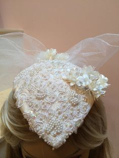 Wedding Hat with pearls and sequins, Satin wedding headpiece, hat with short veil. Ivory Wedding headpiece with Beading and Veiling Wedding Hats, Ivory Wedding, Short Veil, Vintage Hats, Bridal Headpieces, Brittany, Tulle, Sequins, Satin