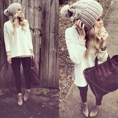 Fall outfit even though it's spring :) slouchy beanie outfit, knit bea Fall Winter Outfits, Winter Wear, Autumn Winter Fashion, Fall Fashion, Style Fashion, Looks Style, Style Me, Simple Style, Moda Fashion