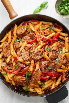 Pasta Skillet Sausage Pasta Skillet — A quick and easy skillet meal with incredible flavor, perfect for weeknight dinners with family.Sausage Pasta Skillet — A quick and easy skillet meal with incredible flavor, perfect for weeknight dinners with family. Easy Skillet Meals, Skillet Recipes, Skillet Cooking, Cooking Pasta, Cooking Recipes, Healthy Recipes, Cooking Bacon, Easy Cooking, Easy Family Recipes