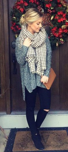 #winter #outfits gray jacket