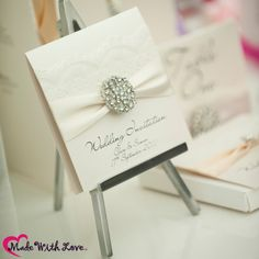 Luxurious wedding invitations with vintage lace and crystal diamonds #wedding #invitation