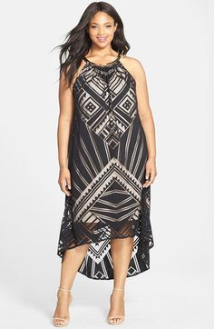 London Times Choker Detail High/Low Burnout Maxi Dress (Plus Size) | Nordstrom