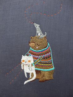 ♒ Enchanting Embroidery ♒  embroidered bear & cat.  Awwww.