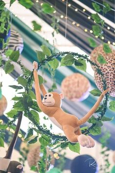 Orion's Jungle Safari Adventure Themed Party – Birthday Orion's Jungle Safari Adventure Themed Party – Ceiling<br> Safari Theme Birthday, Jungle Theme Parties, Wild One Birthday Party, Themed Parties, 2nd Birthday, Party Animals, Animal Party, Festa Safari Baby, Safari Jungle