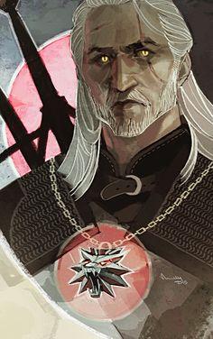 Dragon Age Tarot card style painting - The Witcher 3 - Geralt by TheMinttu.deviantart.com on @DeviantArt