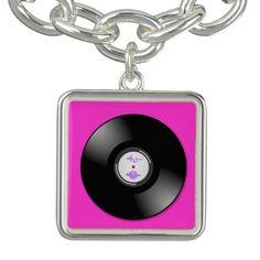 MoonDreams Music Hot Pink Record Sq. CharmBracelet by #MoonDreamsMusic #CharmBracelet #VinylRecord #HotPink