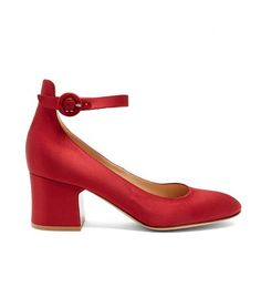 Greta Block-Heel Satin Pumps