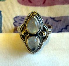 RING -DOUBLE - MOONSTONE  - 925 - Sterling Silver  - size 8 - moonstone355 by MOONCHILD111 on Etsy