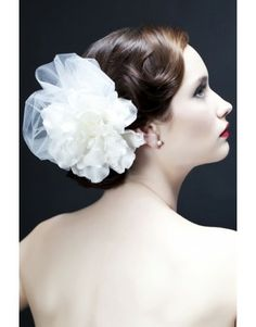 """Sara Gabriel Janet Flower Hair Comb Silk Flower Petals with Soft Tulle on a 7/8"""" comb Gorgeous Couture Bridal Hair Flower"""