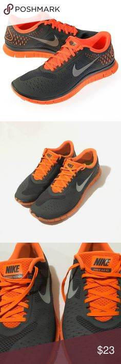 NIKE FREE 4.0 V2 Men's Running Shoes Size 10.5 Mens Nike Free 4.0 V2 (511472-008)  - Comfortable and Breathable  - Dark Grey & Orange, Reflective Silver  - Stylish, can be worn with pants or shorts out and about, or for training, running, sports, etc.  - Good condition  - Normal tread wear for a used shoe, well taken care of, still look great!  *First picture is factory product photo, all the others are pictures I've taken up close to show the details. Nike Shoes Athletic Shoes