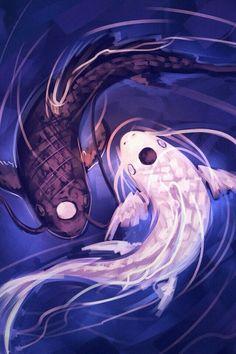 Avatar the last airbender. Yin yang. Koi fish.
