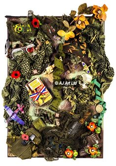 Military. A tribute to the boys and girls, men and women, brave or foolish, who are prepared to die to protect their loved ones. Camouflage greens and khaki, bleeding poppy reds. A soldier's hat, camera and book, a boot, a belt - worn to battle and possibly to death. – AJ