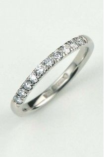 2mm palladium diamond set ring