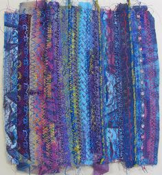 Linda Stokes Textile Artist. programed stitches and silk scraps.