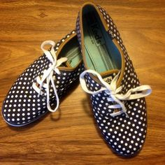 KEDS Champion Size 10 Navy Blue White Polka Dot Casual Sneakers Shoes #Keds #Tennis