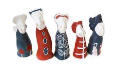 Mini Choir - sculptures figurines blue red home decor  holiday decor Christmas decor modern. €25.00, via Etsy.