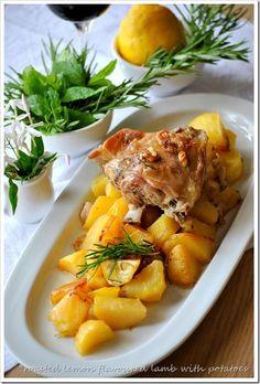 Oven baked lemon lamb and potatoes Greek Recipes, Wine Recipes, Salad Recipes, Cooking Recipes, Sour Foods, I Foods, Lamb Dishes, Food Dishes, Greek Menu