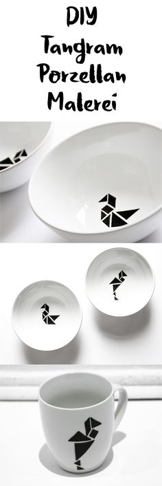 DIY Porzellan bemalen mit Tangram Geschenkidee || DIY porcelain painting with tangram || black and white || Scandinavian Design