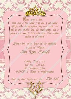 Neveah's Baby Shower on Pinterest | Princess Party, Cinderella ... : Disney Princess Baby Shower Invitations Templates For Kids