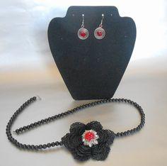 Black crochet necklace Black beaded by IrmasCrochetStore on Etsy