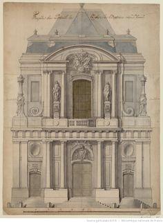 Façade du Portail de l'Eglise de l'Oratoire rüe St. honoré : [dessin] / [Jacques-Ange Gabriel]