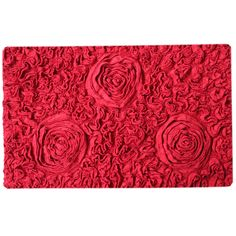 This stunning bathmat features subtle rose designs on bold solid color. Crafted of 100-percent cotton and backed by a no-slip latex backing, this mat offers safety and style.