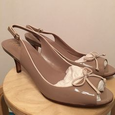 """Cole Haan Air Talia Sling OT 9.5 Tan w/ cream Never worn. Part of the Nike Air collection. Heel height is 2.5"""" - patent leather Cole Haan Shoes Heels"""