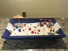 Your own personal beach! All figures used was bought at Michaels and the wooden box was found at TJ Max