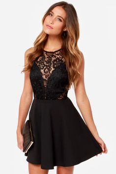 In the Swoon-light Black Lace Dress at Lulus.com!
