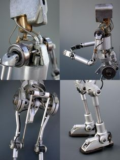 Details of the robot. Aluminum brass iron and polyester.