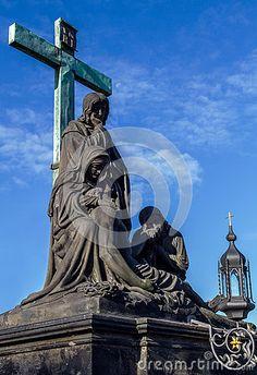 Crucifixion statue on Charles Bridge in Prague.