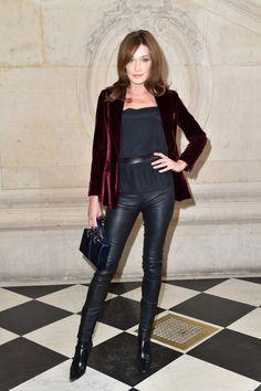 Carla Bruni-Sarkozy's Paris Fashion Week Wardrobe at Balmain, Dior, and Chanel