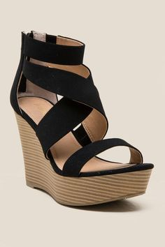 3a74af08c4d5 Black Daily Strappy Platform Wedge. Shoes Heels ...