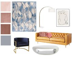 Pink Color Schemes, Concept Board, Home Remodeling, Mid-century Modern, Mid Century, Curtains, Interior Design, Inspiration, Nest Design