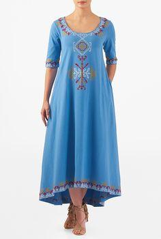 I <3 this Graphic embellished cotton knit elliptical hem maxi dress from eShakti
