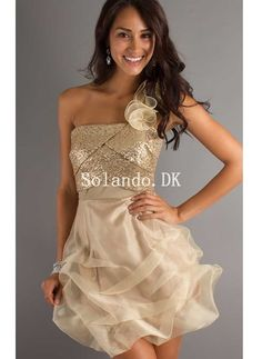 Ball Gown Sequins and Organza Short Party Dress - HomeComing Dresses - Special Occasion Dresses - Wedding & Events Gold Party Dress, Gold Prom Dresses, Prom Party Dresses, Homecoming Dresses, Strapless Dress Formal, Bridesmaid Dresses, Formal Dresses, Gold Dress, Dress Prom