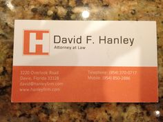 "I started my own firm after 18 years in practice. I wanted something a little different t han the normal ""scale of justice"" type cards, and I like orange. I hired a graphic designer on elance.com to design the logo and business card."