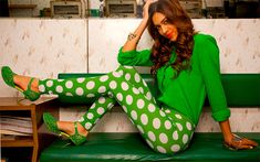 Women's Green Spot Print Leggings