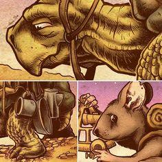 The Constant Traveler - Detail #mouse #tortoise #art #fantasy #epicjourney