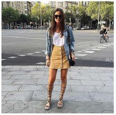 Button-Down-Skirt-White-Top-Jean-Jacket-Gladiator-Sandals