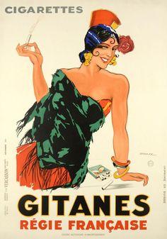 Vintage advert / poster for Gitanes French Cigarettes.