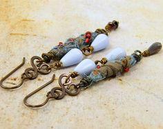 Boho Long Dangle Earrings Light Blue Sari Silk Rustic Wire Wrapped ...