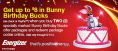 Energizer: Get up to $8 in Bunny Birthday Bucks