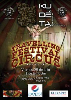 Cartel Kudéta Santander. Party Travelling Festival Circus.