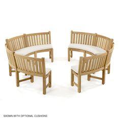 Buckingham Fire Pit Teak Bench Set | Westminster Teak Teak Outdoor Furniture, Outdoor Chairs, Westminster Teak, Curved Bench, Modern Sofa Designs, Fire Pit Seating, Bench Set, Teak Table, Furniture Styles