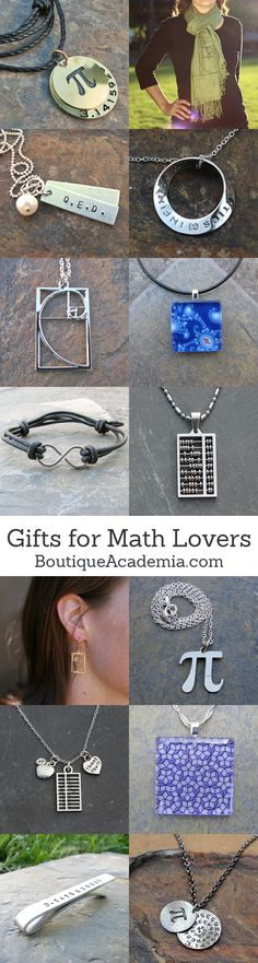 Jewelry for math lovers! Great for gifts and graduation.